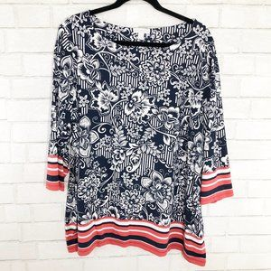 Charter Club Tops - Charter Club Red White & Blue Floral Striped Tunic